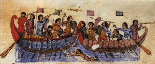 Απεικόνιση ναυμαχίας σε μικρογραφία βυζαντινού χειρογράφου