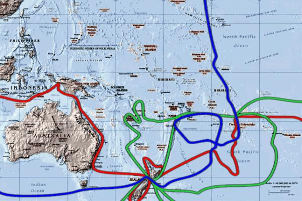 Τα ταξίδια του Κάπταιν Τζέημς Κούκ στον νότιο Ειρηνικό. Το πρώτο ταξίδι απεικονίζεται με κόκκινο χρώμα, το δεύτερο με πράσινο και το τρίτο με μπλε.