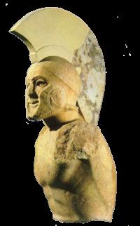 Προτομή αρχαίου Λακεδαιμόνα πολεμιστή που πθανώς εικονίζει τον Λεωνίδα Α'