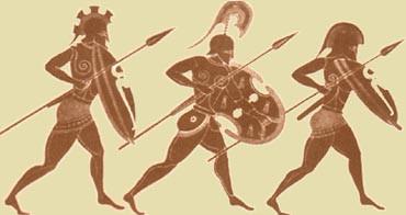 Αρχαίοι Σπαρτιάτες πολεμιστές, τμήμα διακόσμησης αγγείου