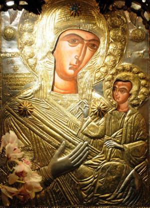 Η εικόνα της Παναγίας στη Μονή Προυσού με αργυρόχρυση επένδυση - τάμα του αρχιστράτηγου Γεώργιου Καραϊσκάκη