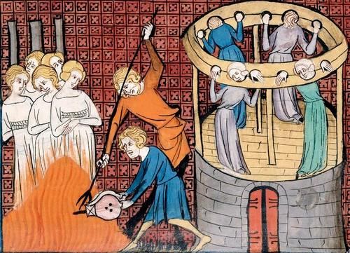 Βασανισμοί και ρίψη στο πυρά μαγισσών τον Μεσαίωνα, μικρογραφία από χειρόγραφο