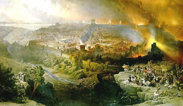 Πολιορκία και Καταστροφή της Ιερουσαλήμ από τους Ρωμαίους,  ελαιογραφία του David Roberts, 1850