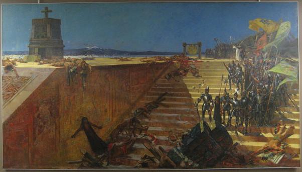 """""""Οι τελευταίες μέρες της Τενοχτιτλάν - Η κατάκτηση του Μεξικού από τον Κορτές"""".  Πίνακας του William de Leftwich Dodge, Βλιοθήκη του Ηοward Tilton, Πανεπιστήμιο Tulana, Νέα Ορλεάνη"""