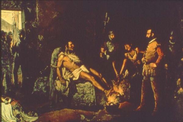 """""""Ο βασανισμός του Κουαχουτεμόκ"""", πίνακας του 19ου αιώνα από τον Leandro Izaguirre"""