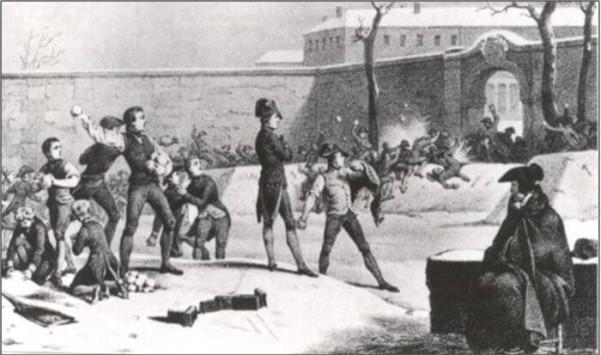 Γκραβούρα εποχής απεικονίζει τον Ναπολέοντα να οργανώνει τους συμμαθητές του σε χιονοπόλεμο στην αυλή της στρατιωτικής σχολή της Μπριέν