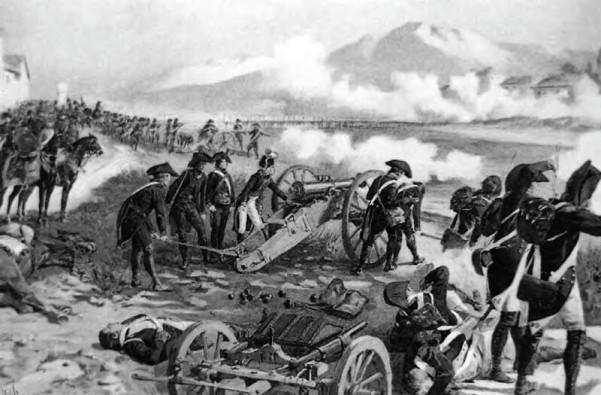 Ο Ναπολέων οργανώνει τη σκόπευση των πυροβόλων του στη μάχη της γέφυρας του Lodi, πίνακας του Myrbach