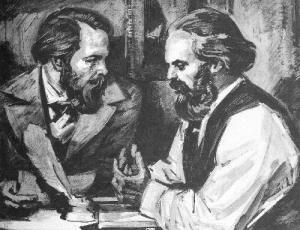 Μαρξ και Ένγκελς σε λιθογραφία εποχής