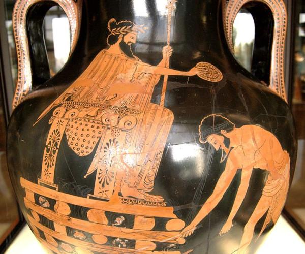 Ο Κροίσος πριν εκτελεστεί η ποινή του για θάνατο δια πυράς από τους Πέρσες κατακτητές (αττικός αμφορέας, 500-490 π.Χ., Μουσείο του Λούβρου)