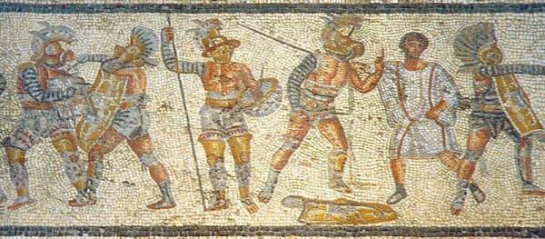 Μέρος του μωσαϊκού Ζλίτεν στη Λιβύη, στην αρχαία ρωμαϊκή πόλη Λέπτις Μάγκνα, περί τον 2ο αι. μ.Χ. Από αριστερά προς δεξιά, απεικονίζονται ένας Θραξ μαχόμενος μ' ένα Μurmillo, ένας Οπλομάχος να στέκεται δίπλα σ΄έναν άλλο Μurmillo (που παραδέχεται την ήττα του στο διαιτητή), κι ένα ακόμη μαχόμενο ζευγάρι (διακρίνεται στη φωτό μόνο ο εκ αριστερών)