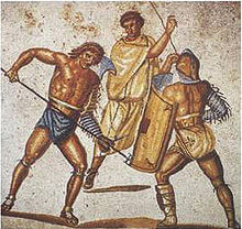 Retiarius προσπαθεί να λαβώσει ένα secutor με την τρίαινά του. Μωσαϊκό του 2ου αι. μ.Χ. ρωμαϊκής βίλας στο Nennig, Γερμανία