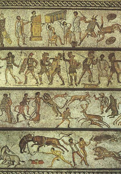 Μωσαϊκό με δημοφιλείς ρωμαϊκές διασκεδάσεις του 1ου αιώνα. Μουσείο Jamahiriya, Τρίπολη, Λιβύη. Από τη βίλα Νταρ Μπουκ Αμμέρα (Zliten)