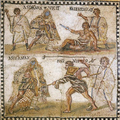 Μωσαϊκό στο Εθνικό Αρχαιολογικό Μουσείο της Μαδρίτης απεικονίζει ένα  retiarius, ονόματι Kalendio (του οποίου η παράδοση απεικονίζεται στο άνω μέρος) να μάχεται μ' έναν secutor ονόματι Αστυάναξ. Astyanax. Το σημάσι Ø δίπλα στ' όνομα του Kalendio's υποδεικνύει ότι σκοτώθηκε μετά την παράδοσή του.