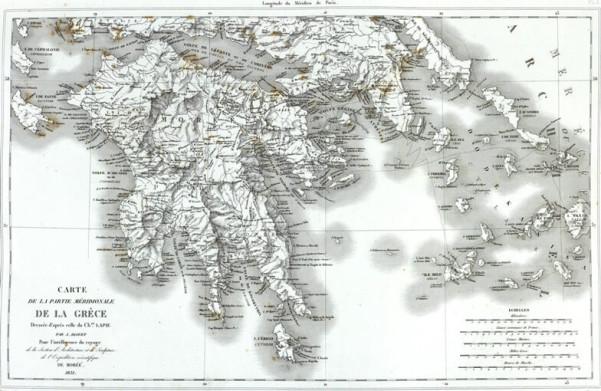 Χάρτης της Ελλάδος, συνταχθείς από την χαρτογραφική ομάδα της γαλλικής αποστολής που παρέμεινε στο Μωριά μετά τον πόλεμο