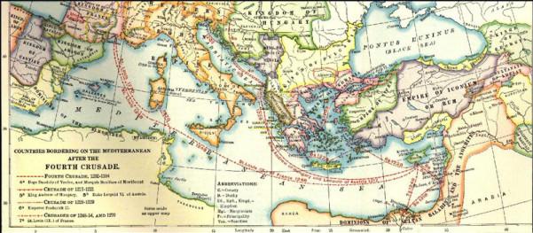 Χάρτης των κρατών που προέκυψαν μετά τη Δ' Σταυροφορία