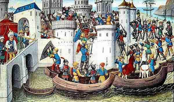 Η πολιορκία της Κωνσταντινούπολης από τους Σταυροφόρους (1204), μεσαιωνική μινιατούρα του 15ου αιώνα