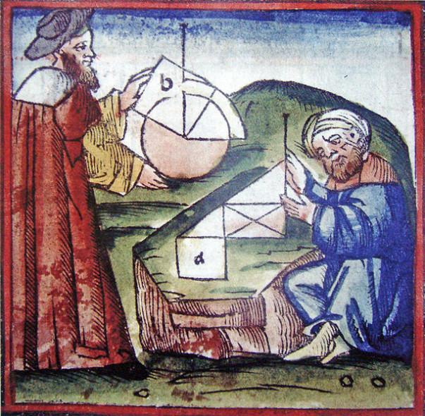 Ένας Δυτικός και ένας Άραβας επιστήμονας μελετούν μαζί γεωμετρία, όπως απεικονίζεται  σε χειρόγραφο 15ου αιώνα