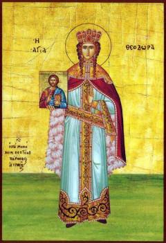 Η Θεοδώρα, ως αγία, σε ελληνική ορθόδοξη  εικόνα του 19ου αιώνα