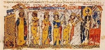 Οι κόρες της Θεοδώρας σε μια τελετή μύησης στη λατρεία των εικόνων από τη γιαγιά τους Θεοκτίστη (Μικρογραφία από το Χρονικό του Ιωάννη Σκυλίτζη)