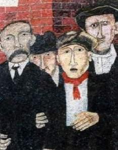 Οι άδικα δολοφονημένοι Σάκκο και Βαντσέτι - λεπτομέρεια από μωσαϊκό σε τοίχο του Syracuse University, Νέα Υόρκη