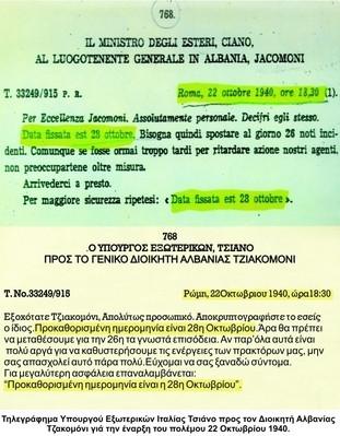 Τηλεγράφημα του Τσιάνο προς τον αρχηγό των ιταλικών δυνάμεων στην Αλβανία για την επικαιροποίηση της ημερομηνίας επίθεσης κατά της Ελλάδας-Αρχείο Διευθύνσεως Ιστορίας Στρατού