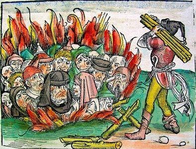 Σκηνή από το χειρόγραφο Liber Chronicarum, όπου Εβραίοι καίγονται ζωντανοί, θύμα των δεισιδαιμονιών που κυριάρχησαν στη μεσαιωνική Ευρώπη κατά τον ''Μαύρο Θάνατο'', 1493