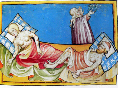 Απεικόνιση των συμπτωμάτων του Μαύρου Θανάτου από την Τογγενβούργια Βίβλο (Ελβετία, 1411)