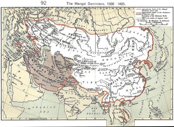 Χάρτης της Μογγολικής Αυτοκρατορίας, γύρω στα 1300 μ.Χ.