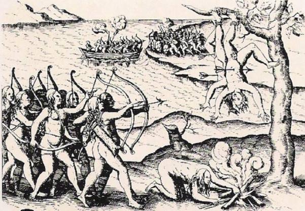 Αναπαράσταση μαρτυρικής εκτέλεσης Ελλήνων αποίκων από Αμαζόνες σε ευρωπαϊκή γκραβούρα του 15ου αιώνα, Αγνώστου